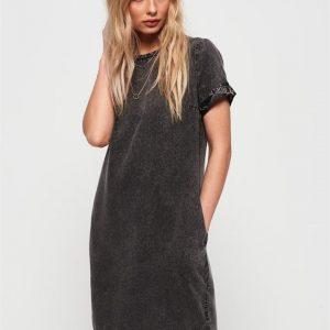 Superdry Shay Tee Dress Black Acid Wash