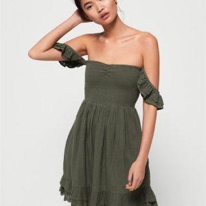 Superdry Adrianna Smocked Dress Washed Khaki