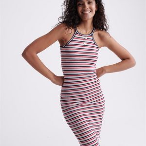 Superdry Tiana Graphic Midi Dress Ice Marle/Red/Navy Stripe