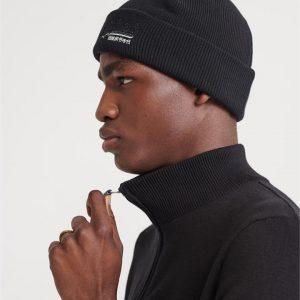 Superdry Orange Label Beanie Black