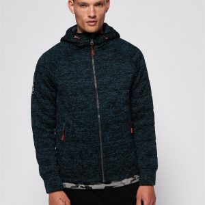 Superdry Storm Quilted Ziphood Navy/Hotspring Blue