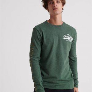 Superdry Vintage Logo Linear Ls Tee Enamel Green Marle