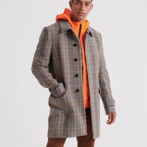 Superdry Edit Wool Car Coat Camel Check
