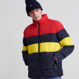 Superdry Colour Stripe Sports Puffer Darkest Navy