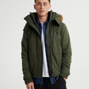 Superdry Microfibre Fur Hooded Attacker Army