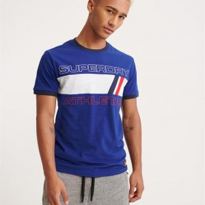 Superdry Trophy Ringer Tee Downhill Blue