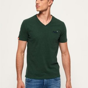 Superdry O L Vintage Embroidery Vee Tee Buck Green Marle
