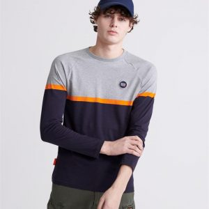 Superdry Collective Colour Block Ls Top Grey Marle