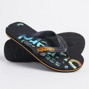 Superdry Scuba Infil Flip Flop Black/Fluro Orange