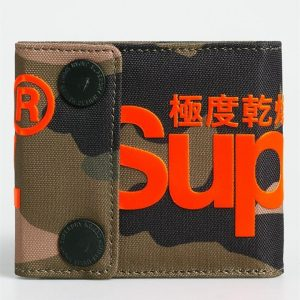 Superdry 2 Popper Wallet Green Camo