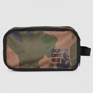 Superdry 2 Zip Wash Bag Green Camo