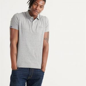 Superdry Orange Label Jersey S/S Polo Silver Glass Feeder