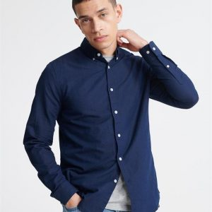 Superdry Edit Linen Button L/S Shirt Indigo