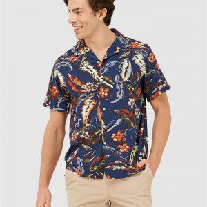 Superdry Hawaiian Box S/S Shirt Indo Leaf Navy
