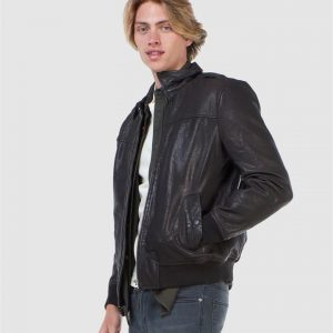 Superdry Aviator Leather Jkt Black