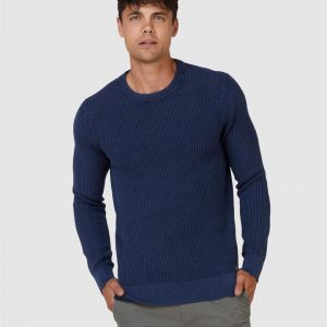 Superdry Academy Dyed Texture Crew Washed Dark Storm Navy