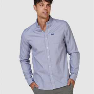 Superdry Classic Univrsity Oxford Shirt Broken Gingham Blue
