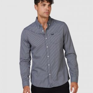 Superdry Classic Univrsity Oxford Shirt Inverse Gingham Black