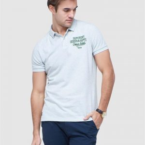 Superdry S/S Superstate Polo Pale Grey Marle
