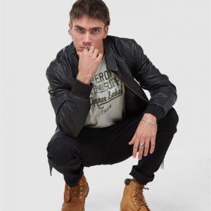 Superdry Leather Indie Club Jacket Black