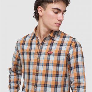 Superdry Sun Faded Lumberjack Shirt Sun Baked Orange Check