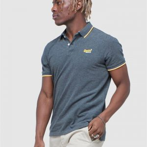 Superdry Poolside Pique S/S Polo Black/Grey Marle