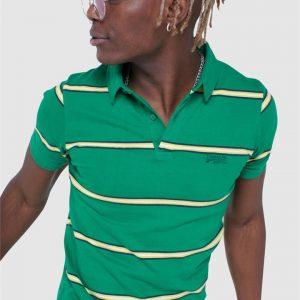 Superdry Academy Stripe Polo Varsity Green Stripe