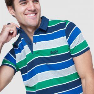 Superdry Academy Stripe Polo Academy Blue Stripe