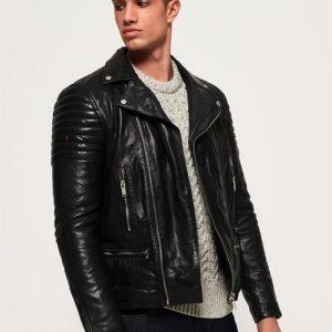 Superdry Sd Prem Classic Leather Biker  Black