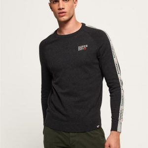 Superdry Stacked Logo Striped Crew Dark Charcoal