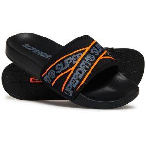 Superdry Superdry City Beach Slide Black/Charcoal/Hazard Orange