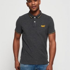 Superdry Classic Poolside Pique Polo Black/Grey Marle