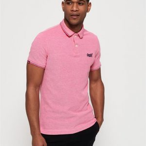 Superdry Classic Poolside Pique Polo Coral/White