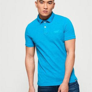 Superdry Vintage Destroyed Polo Beach Blue Marle