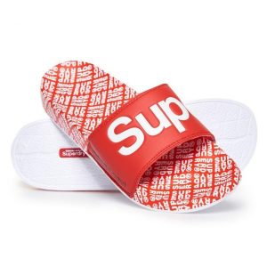 Superdry Superdry Aop Beach Slide Sper Red/Optcwhte/Whtetileaop