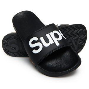 Superdry Superdry Pool Slide Optic Blk/Optc Whte/Hzrd Ornge