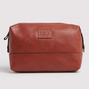 Superdry Leather Premium Washbag Tan