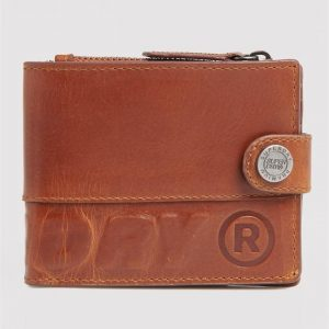 Superdry Profile Leather Wallt In A Tin Warm Tan