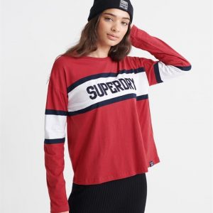 Superdry Macy Panelled Graphic Top Dark Red