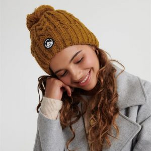 Superdry Gracie Cable Beanie Ochre