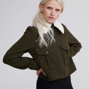 Superdry Selena Cropped Wool Jacket Khaki