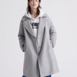 Superdry Koben Wool Coat Light Grey Marle