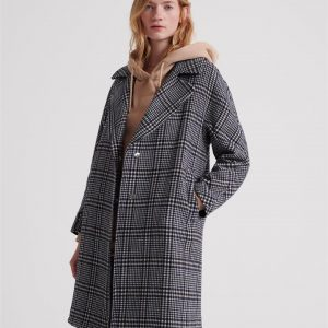 Superdry Koben Wool Coat Black Check