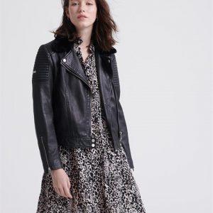 Superdry Premium Winter Leather Biker Black