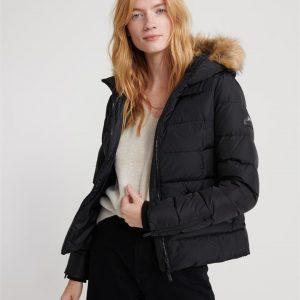 Superdry Premium Down Luxe Faux Fur Jac Black