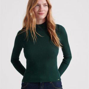 Superdry Annie Skinny Rib Jumper Emerald Green