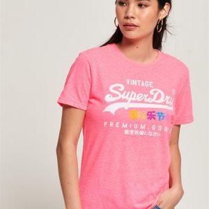 Superdry Premium Goods Puff Entry Tee Neon Pink Snowy Marl