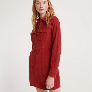 Superdry Hadley Cord Shirtdress Furnace Red