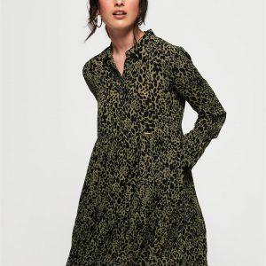 Superdry Scandi Shirt Dress Green Print