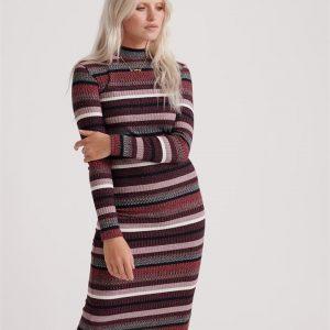 Superdry Stripe Rib Midi Dress Red Stripe
